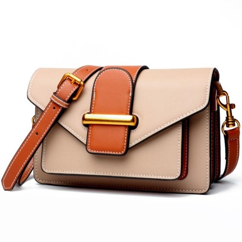 Women Flap Fashion Genuine Leather Handbag Soft Cow Leather Shoulder Bags Box Postman Messenger Bag Female Retro Organ Designer цена 2017