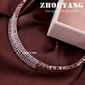 ZHOUYANG Top Quality Luxury  White/Rose Gold Plated Pendant Necklace Jewelry Austrian Crystal Wholesale ZYN179  ZYN121