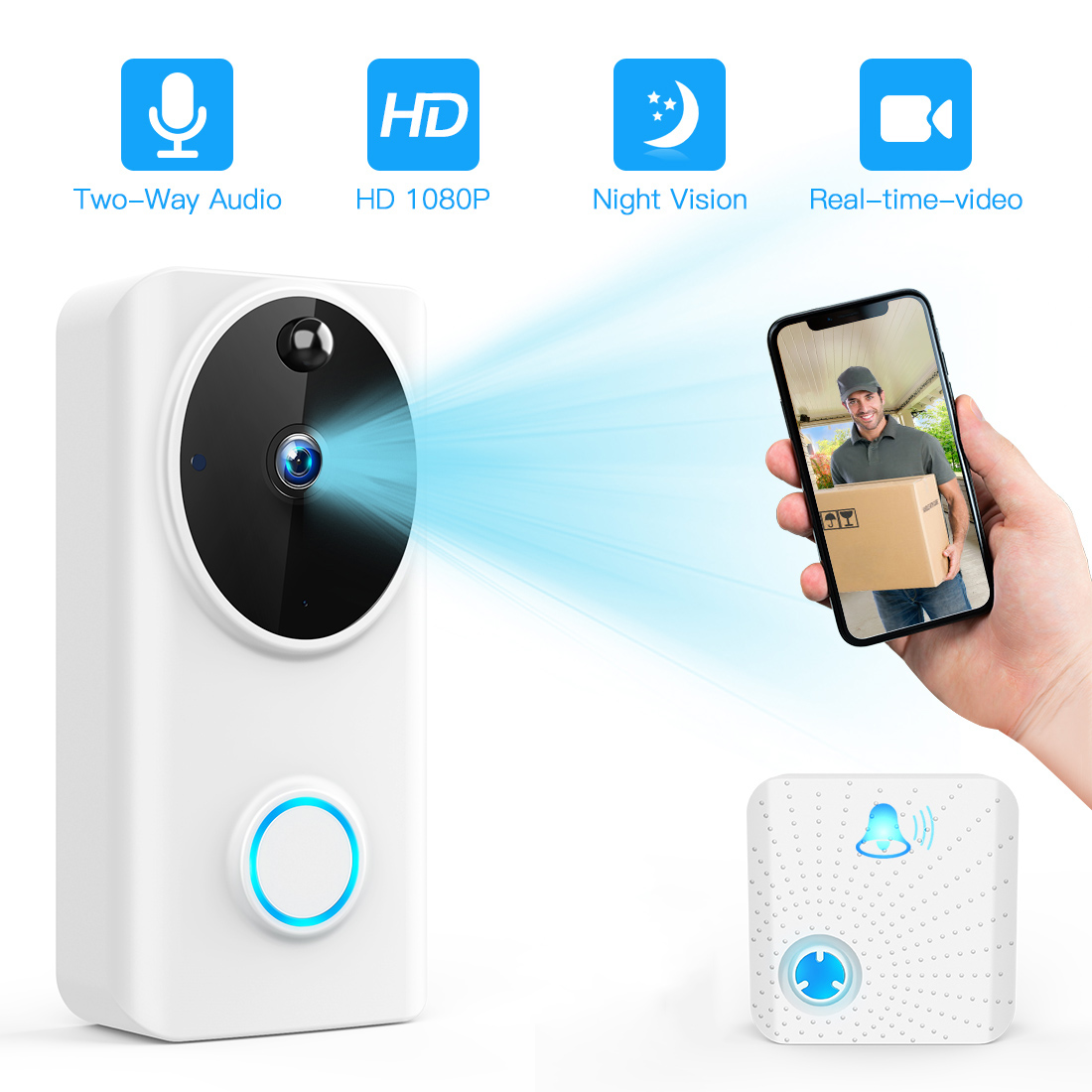 FREDI 1080P 2.0MP WIFI Doorbell Smart IP Video Intercom Video Door Phone Door Bell Camera IR Alarm Wireless Security Cameras