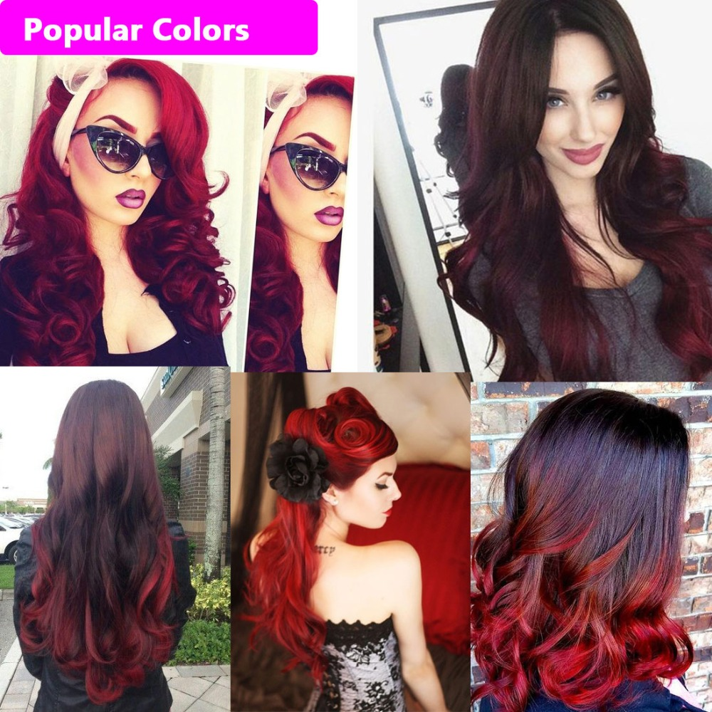 Brazilian Black Red Ombre Body Wave Weave Full Head Clip In Blended