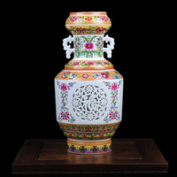 Jingdezhen Ceramic Vase Double deck Hollow out Vase Living Room Home Decoration Modern Handicraft Articles Antique Chinese Vases
