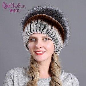 Image 2 - Womens Fur Hat Russian Knit Cap Hat Female Winter Rabbit And Fox Hat Real Fur Hat Caps Winter Women Ski Cap Protection Ear