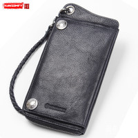 Original handmade retro men's wallet long zipper genuine leather buckle mobile phone bag anti theft chain card holder wallets