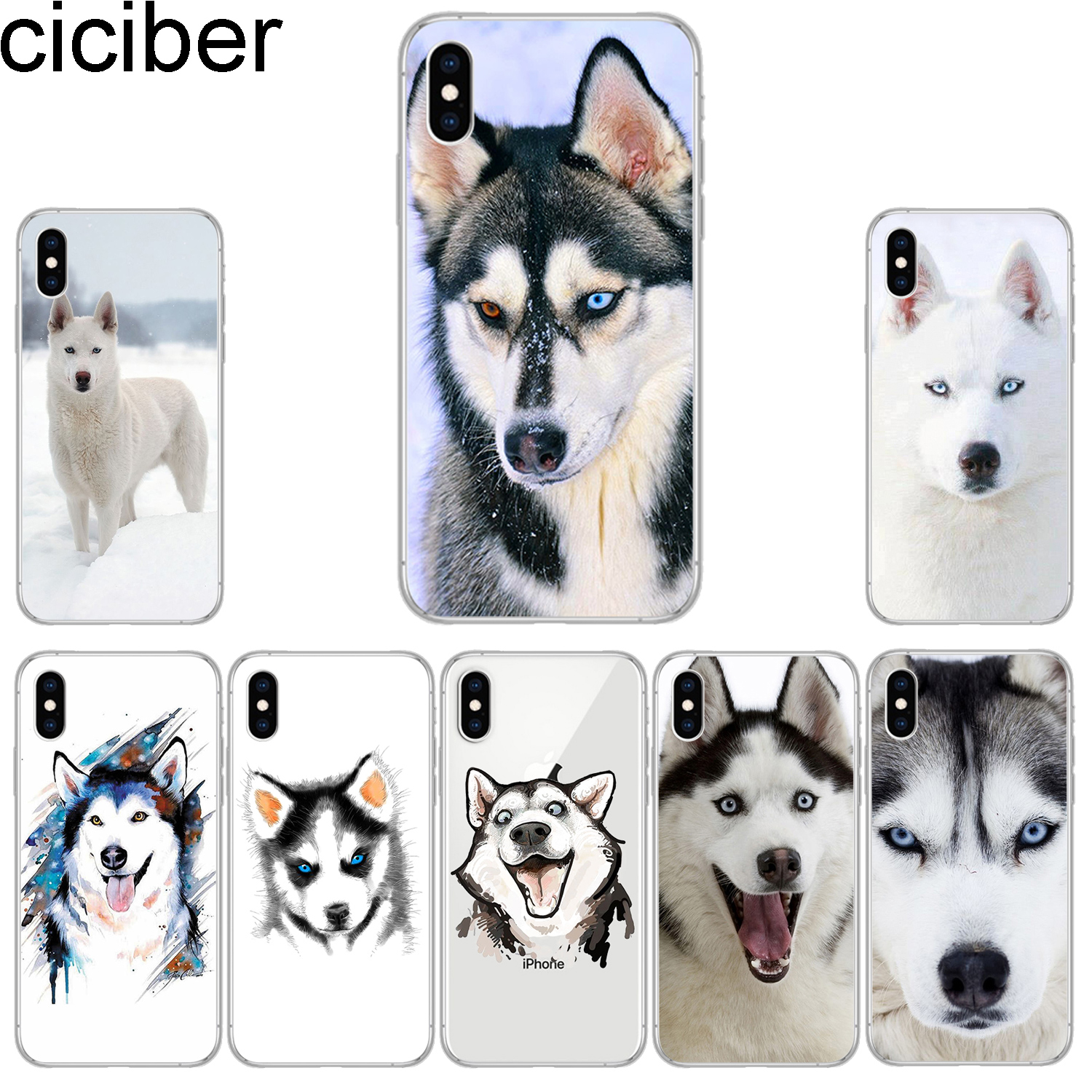 ciciber Phone Cases for IPhone 7 8 6 6s Plus SE 5s X Xs XR XS Max Soft TPU Cover for IPhone 11 Pro Max <font><b>Siberian</b></font> <font><b>husky</b></font> Fundas image