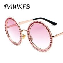 Pop Age 2018 New Pink Diamond Sunglasses Oversized For Women Luxury Round Eyeglasses Brand Designer glittery Glasses
