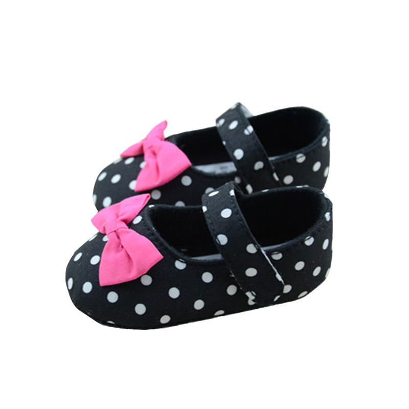 Toddler Baby Girl Princess First Walkers Black Polka Dot Crib Shoes Kid Mary Jane Shoes ...