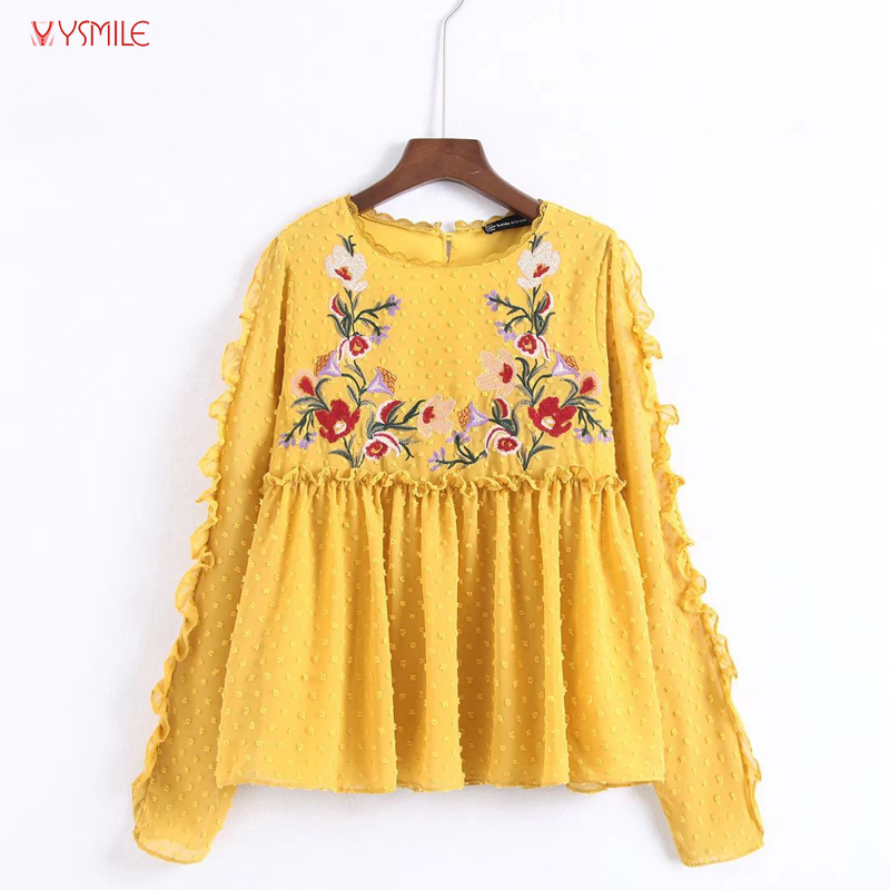 YSMILE Y Women Fashion Autumn Shirt Flowers Embroidered Tulle Loose Casual Long Sleeve Blouse Shirt