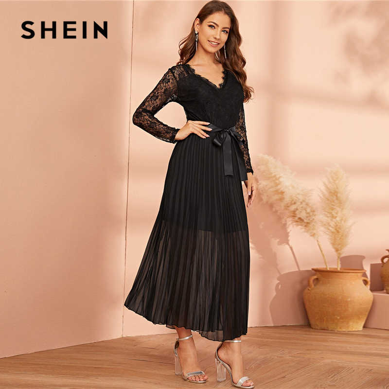 שיין שחור תחרה פנל Plisse מכפלת חגור קפלים Sheer שמלת נשים סתיו V-צוואר בכושר התלקחות גבוהות מותניים מסיבת ארוך שמלות