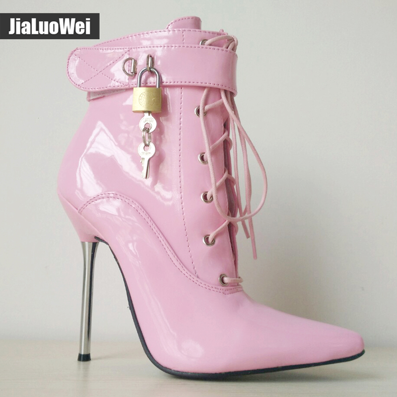 Women 12cm High Heels Pointed Toe Sexy Fetish Ankle Boots Woman Shoes Spike Metal Heels Cross-tied Lockable Boots Botas Mujer лампа светодиодная 10215 e14 6w 4500k шар матовый led g45 6w nw e14 fr o