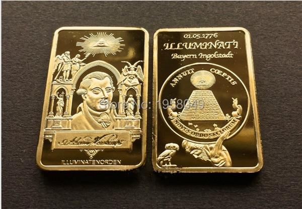 Illuminati Masonic 1776 FOUNDER ADAM WEISHAUPT 24k Gold INGOT Baphomet Bullion,1pcs/lot free shipping