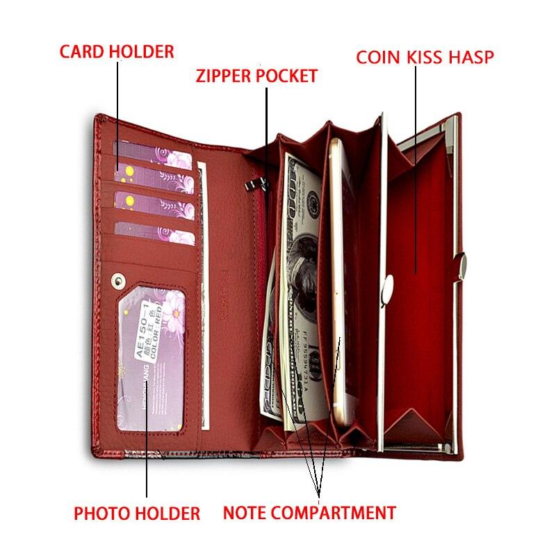 HH lujo de cuero genuino mujeres carteras Alligator Clutch Pruses - Monederos y carteras - foto 6