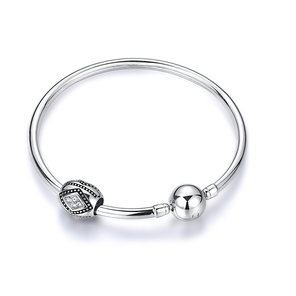 DIY Silver Charm Bangle Bracelet 925 Sterling Silver Bangle Geometric Cubic Zirconia Bead Bangles For Women Pan Bracelet Jewelry in Bracelets Bangles from Jewelry Accessories