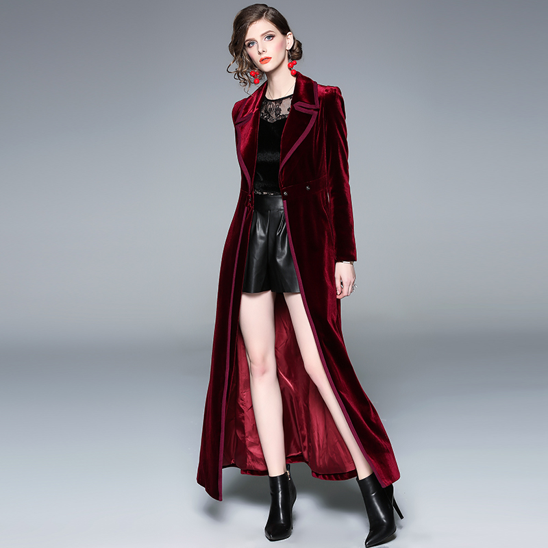2019 Stylish Elegant Women X-Long Burgundy Velvet   Trench   Coat Fashion Spring Autumn Runway Designer Retro Windbreaker Streetwear