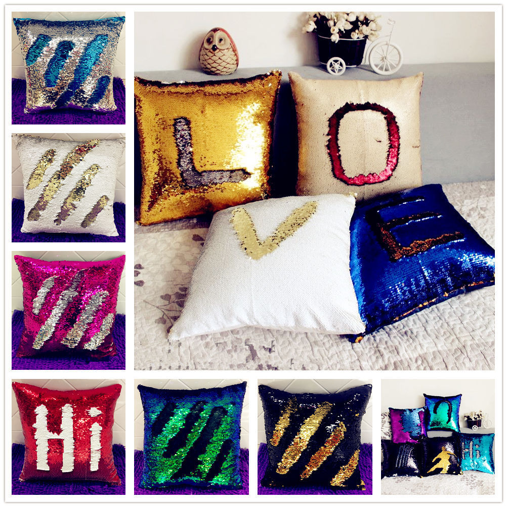 Home Textile Mermaid Sequins Cushion Pillow Throw Pillow Magical Color Change Cushion title=