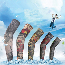 1 pair/lot Tattoo sleeves halloween long arms warmer body art cycling harajuku arm summer cuff sleeve cover UV sunscreen