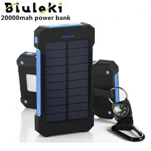 Bluruki Solar Banco de la Energía Dual USB Banco de la Energía 20000 mAh Batería Externa Cargador Portátil Batería Externa para el teléfono Móvil