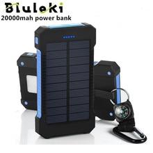 bluruki Solar Power Bank Dual USB Power Bank 20000mAh External Battery Portable Charger Bateria Externa Pack for Mobile phone