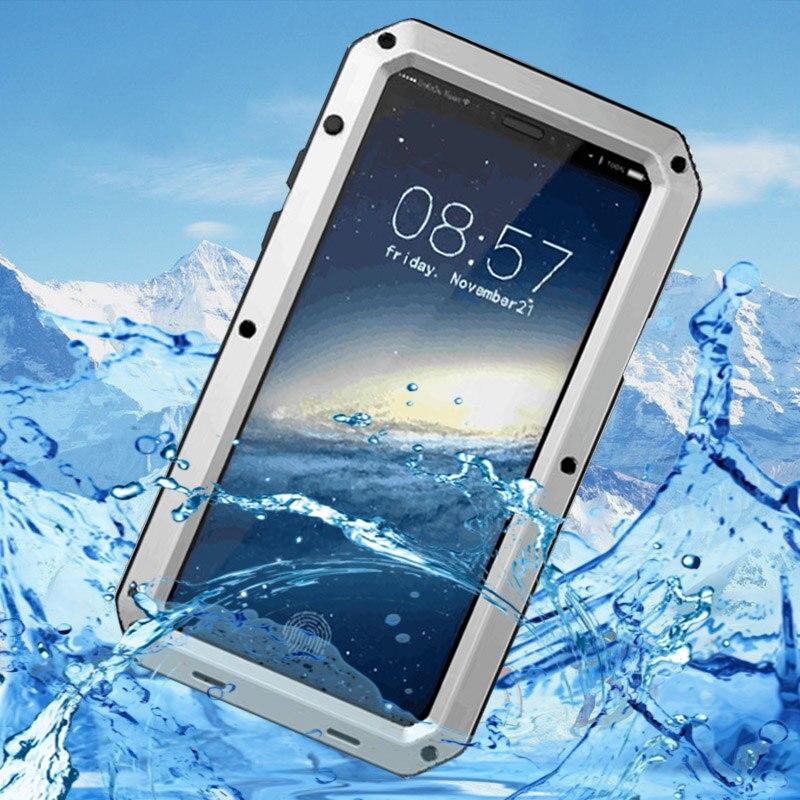 Premium de lujo Doom armadura Shock impermeable de aluminio de Metal para iPhone 7 7 6 S Plus 5S SE X 10 XS Max XR de silicona cubierta resistente