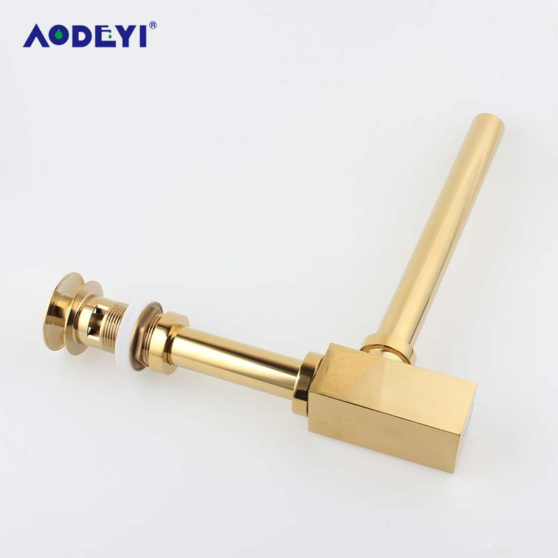 AODEYI Gold Brass Pop-Up Basin Waste Drain, Basin Mixer P-Trap Waste Pipe Into The Wall Drainage Brass Vessel Or Ceramic Sink