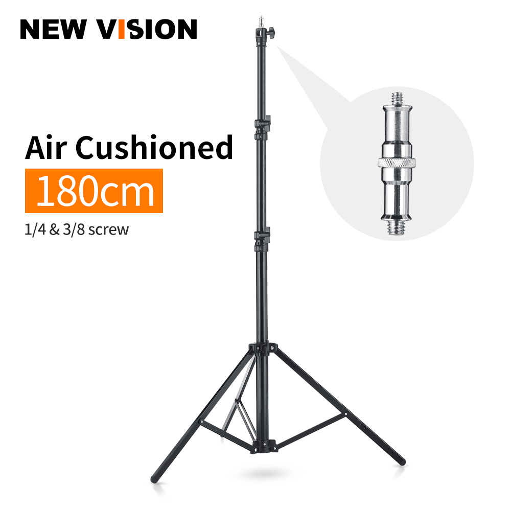 Quick Installation 1.8 Meter / 5.9 Ft Heavy Duty Impact Air Cushioned Video Studio Light Stand,Telescopic Support In The Middle