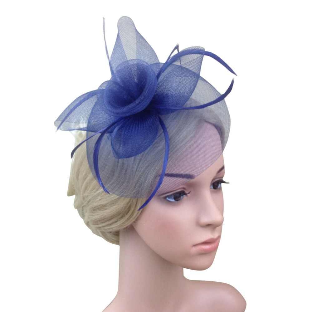 Kobiety Lady elegancki Fascinator kapelusz klipy spinki do włosów akcesoria do włosów ślubne Party kościół kapelusze