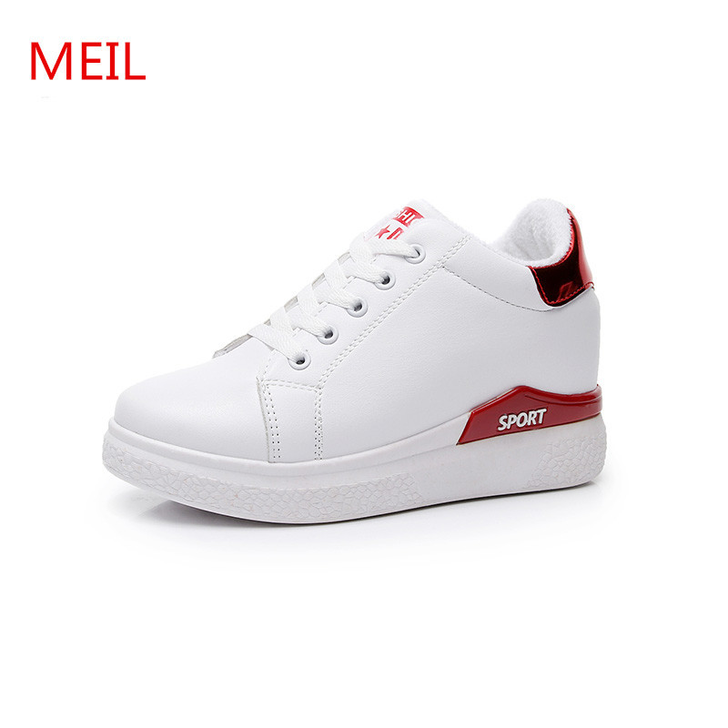 MEIL Women Sneakers fashion white Platform Shoes Lace up Ladies shoes Vintage Stitching Cute Spring Casual flat Shoes women gogc 2018 new style women shoes with hole breathable women flat shoes women sneakers casual shoes summer spring lace up footwear