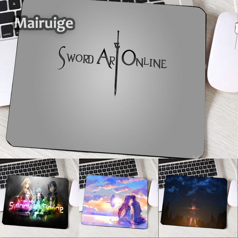 Mairuige The Best Popular Small Mousepads SAO Anime Logo Pattern Mouse Pad Anti-skid Wear Rubber Mouse Mat Laptop Computer Mats
