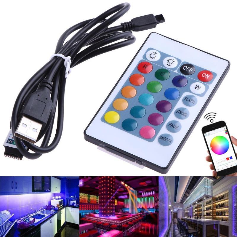 4.5-26V Mini USB Bluetooth RGB LED Light Controller+ 24-Key IR Remote Control for 3528 5050 LED Strip 44 key ir remote controller for led light strip white