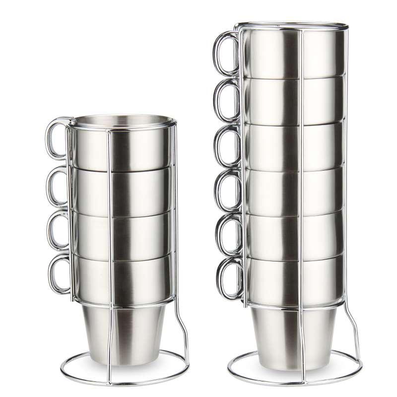 Двухслойная кружка из нержавеющей стали с ручкой, кофейная кружка с держателем для стакана, Набор кружек для пива, Изолированная чашка с антиобжигающим покрытием simple mugs stainless steel mugsteel mug   АлиЭкспресс