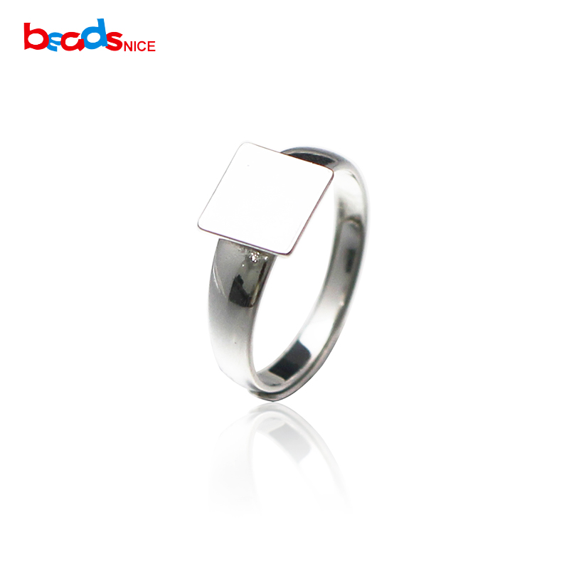 Beadsnice Square Ring Blanks 925 Sterling Silver Ring Setting With 12mm Square Flat Pad For Cabochon DIY New Year Gift ID36122