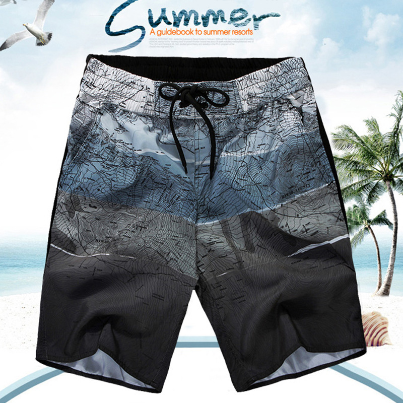2016 New Mens Summer Style Beach Shorts Plus Size High Quality Man Chic Boardshorts chic mult color trimmed beach shorts