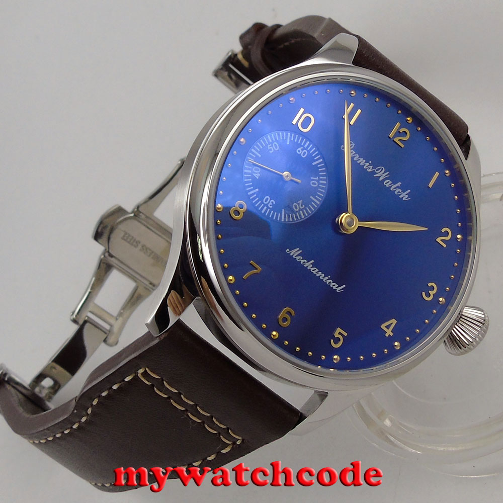 44mm parnis blue dial 6497 movement deployment calsp hand winding mens watch 39544mm parnis blue dial 6497 movement deployment calsp hand winding mens watch 395
