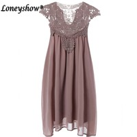 Loneyshow 2017 Summer Style Hollow Out Lace Dress Women Loose Sleeveless Plus Size Elegant Chiffon Mini