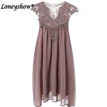 Loneyshow 2017 Summer Style Hollow Out Lace Dress Women Loose Sleeveless Plus Size Elegant Chiffon Mini Dress Vestidos 5XL