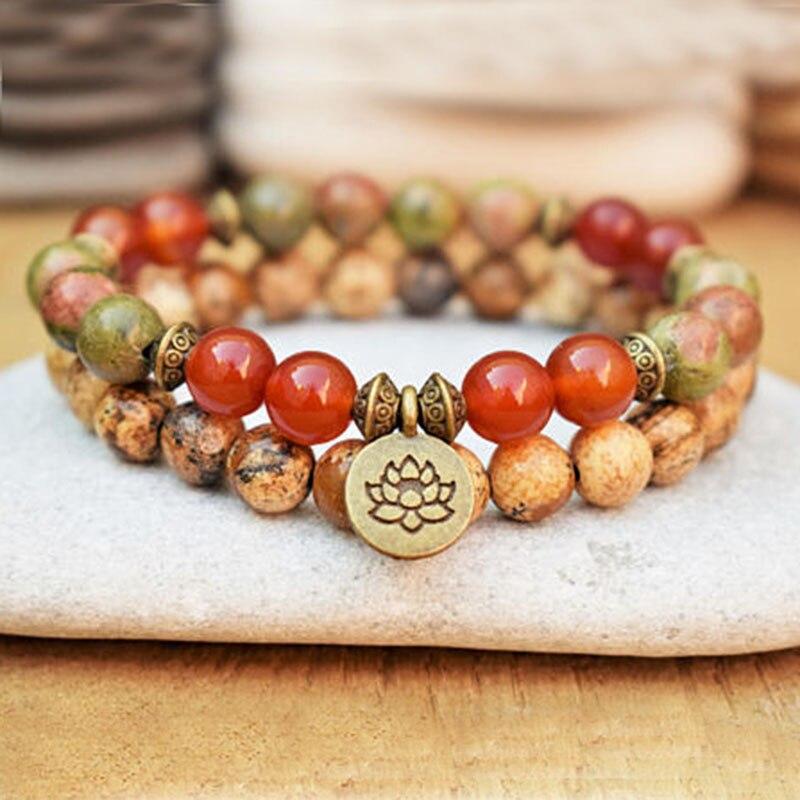 Lotus Wrist Mala Healing Crystal Lotus OM J-asper Bracelet Sets For Men Medetation Yoga Bead Carnelian Bracelet
