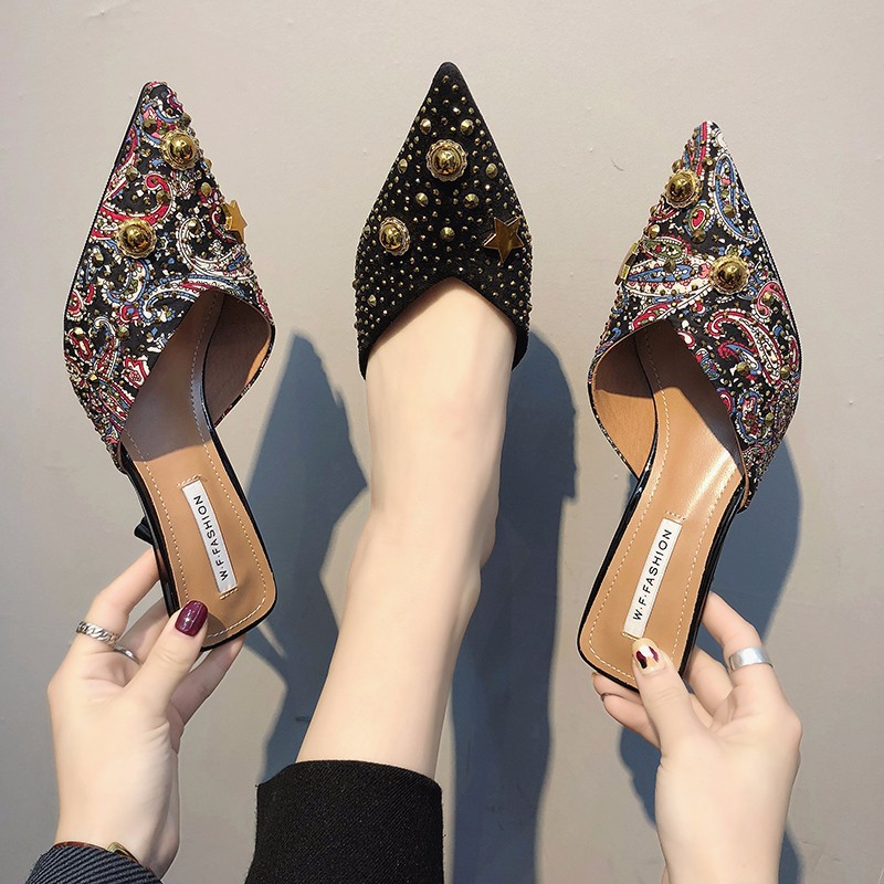 2019 Woman Embroider Sandals Women 39 s Summer Pearl Stiletto Casual Pointed Low Heels Shoes Summer Fashion Slippers in Women 39 s Pumps from Shoes