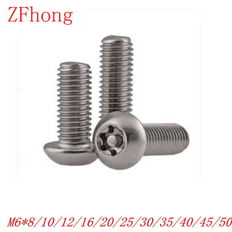20PCS M6*8/10/12/16/20/25/30/40/50 A2 Stainless Steel Torx Button Head Tamper Proof Security Screw Screws cctv security explosion proof stainless steel general bracket