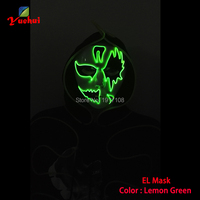 New type Carnival terror glowing EL wire Mask,Night ghost Mask LED Neon Glow Party Halloween Supplies+3V Sound Activated Driver