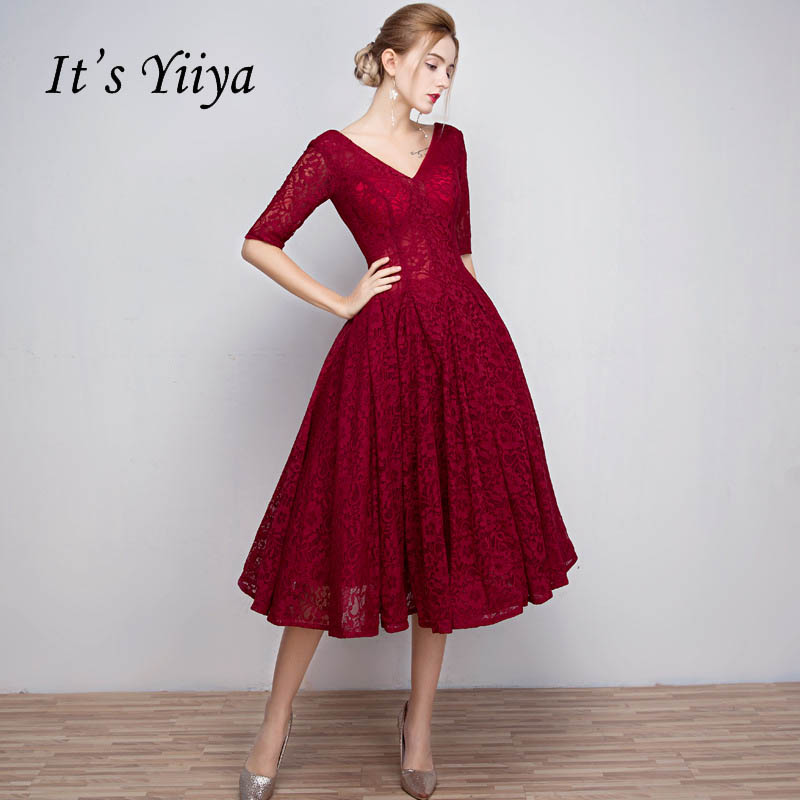 It's YiiYa Red Sales V-Neck Half Sleeve Ankle-Length Lace Up   Prom   Gown Simple Lace Luxury   Prom     Dresses   Dancing Party L018