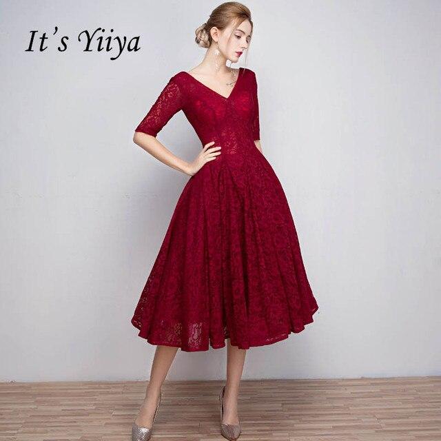 Это yiiya красный продаж v-образным вырезом Половина рукава лодыжки-Длина Кружево Up Пром платье простой Кружево Роскошные Выпускные платья Танцы вечерние L018