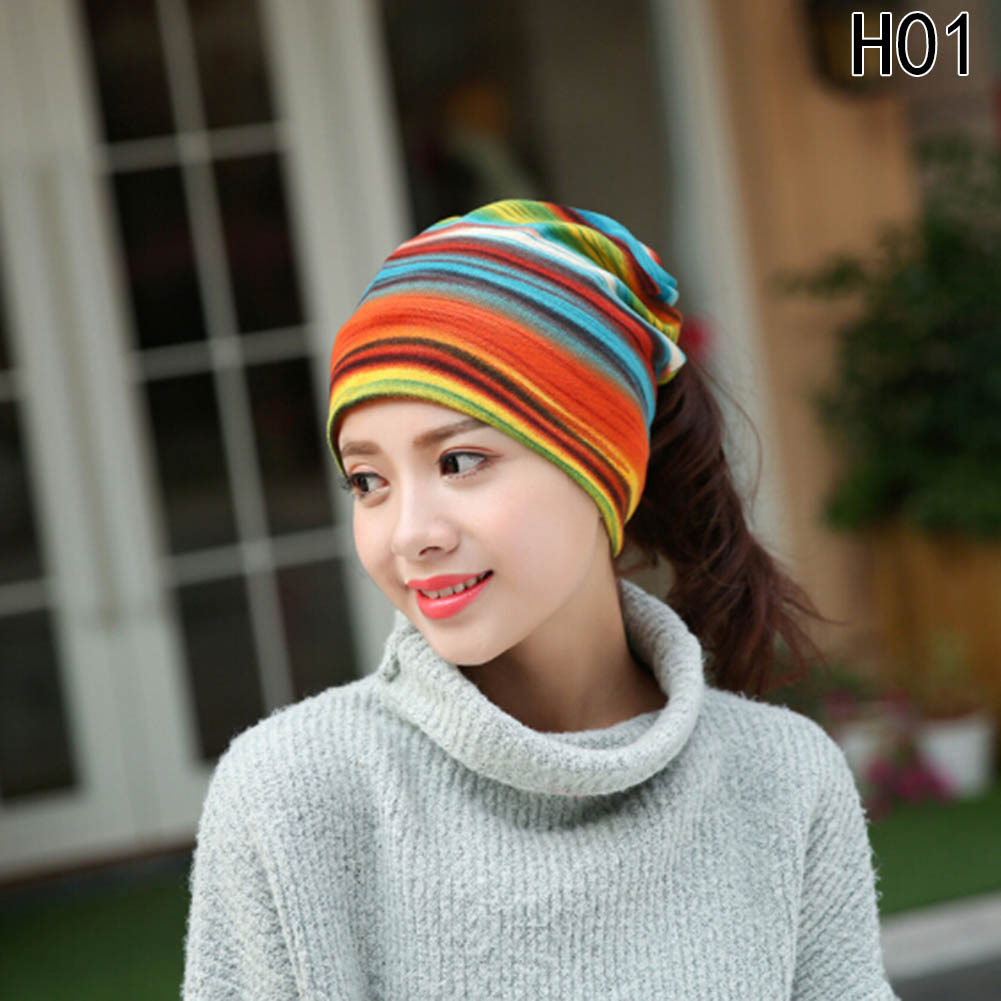 e286fb410e79b New Arrival Womens Fashion Turban Autumn Winter Warm Headdress Caps Hat  Colorful Striped Scarf Work Out Beanies Accessories