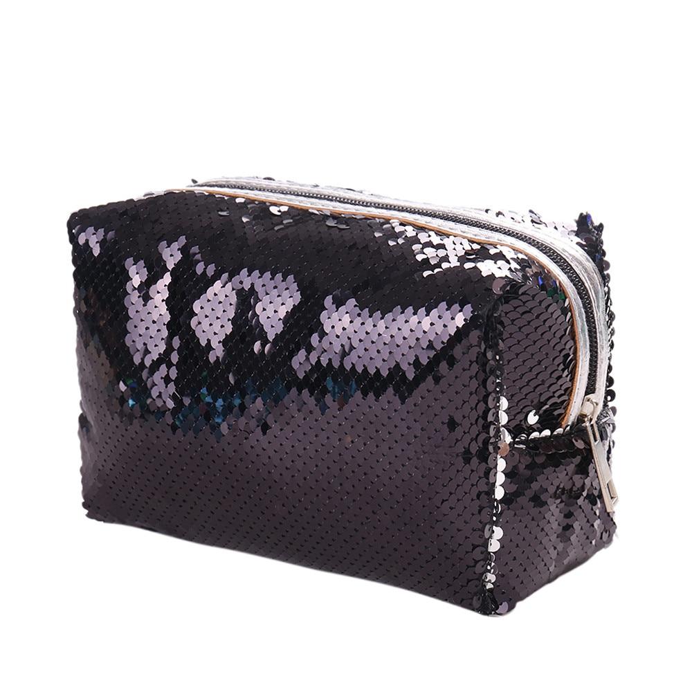 Large Capacity Clips Colors Fashion Cosmetic Bag Outdoor Solid Color Sequins Handbag Shoulder Bag Tote Ladies Purse