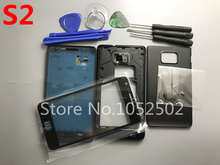 Replacement Parts Full Housing Case + Front Glass Screen Lens For Samsung Galaxy S2 i9100+Tools Black / White