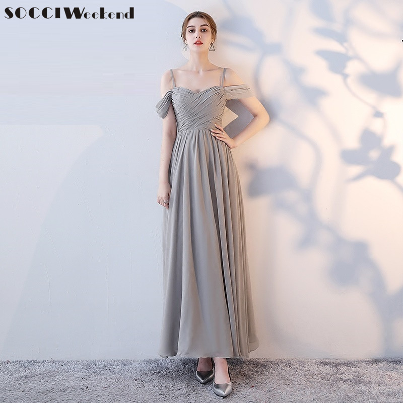 SOCCI Weekend Long Bridesmaid Dresses 2019 Sliver Sleeveless Sister Dress Grey Off Shoulder Formal Wedding Party Gowns Robe De