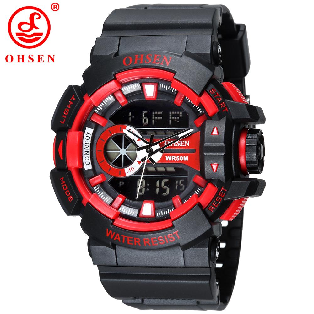 Prix pour 2015 ohsen hommes sport montres en plastique led numérique analogique quartz montres armée résistant à l'eau 30 m montre de luxe marque as08