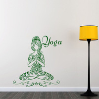 Yoga Lotus Pose Wall Stickers Words Gym Wall Decor Vinyl Wall Decals Home Interior Design Bedroom