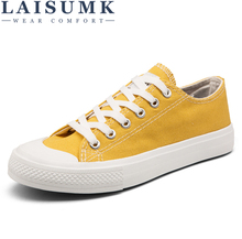LAISUMK Mens Vulcanize Shoes Summer Canvas Men Breathable Male For Solid Flat Lace-up Black White Grey