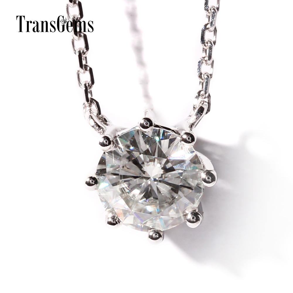 TransGems 18K White Gold 1 Carat Lab Grown moissanite Diamond 8 Prongs Solitaire Pendant Necklace Solid for Women 18k 750 white gold pendant gh color round lab grown moissanite double heart necklace diamond pendant necklace for women jewelry