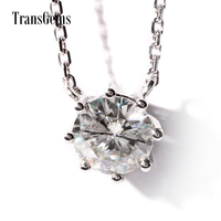 TransGems Solid 18K 750 White Gold 1 Carat 6.5MM F Color Moissanite 8 Prongs Solitaire Pendant Necklace for Women Wedding