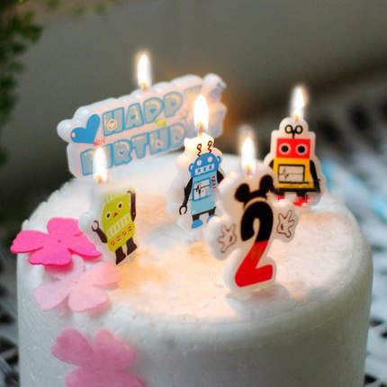 Placeholder Birthday Cake Candles Cartoon Modeling Candle Boy Prince Three Robot PVC Box No Smoke